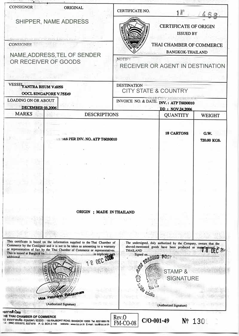 Certificate of origin in thailand for shipping and what it for Certificate of origin for a vehicle template
